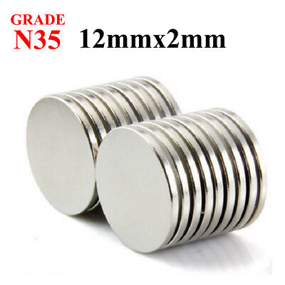 lot 100 50 12mm X 2mm Neodymium Disc Strong Rare Earth N35 Small Fridge Magnets