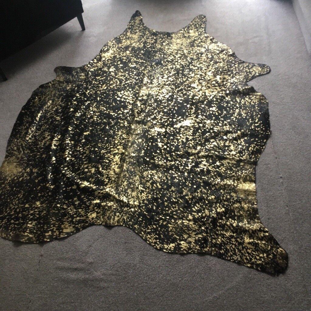 Raw Cow Hide Rug (black with gold flecks)