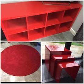 **BUNDLE** £70!! Red gloss Kallax unit and red rug