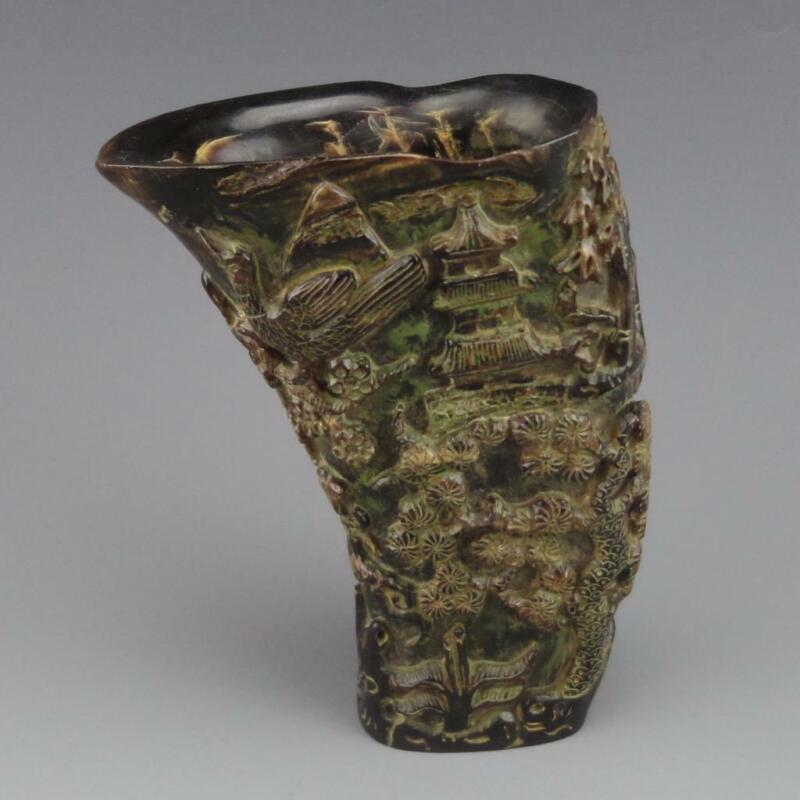 Beautifully Carved Chinese Ox Horn Brush Pot - Scholars and Nature Scenery