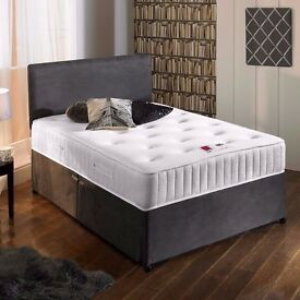 "Charcoal Suede Divan Bed & 10"" Memory Sprung Mattress With Free Headboard FREE NATIONWIDE DELIVERY"