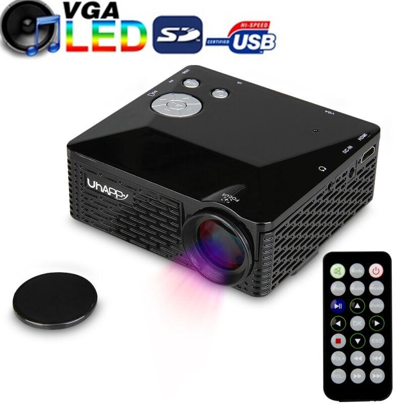 Uhappy Mini Portable LCD LED Projector Home Theatre Cinema AV VGA USB