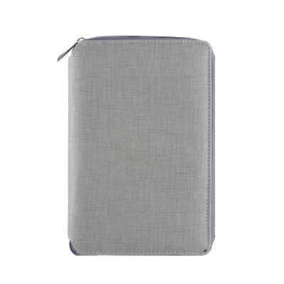 A6 Zipped Leather Conference Folder Business Document Bag Portfolio Grey