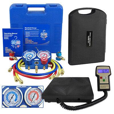 Air Condition R134a Ac Hvac Manifold Gauge And Digital Refrigerant Scale Set