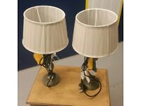 2x BRAND NEW shabby chic dark blue/green lamps - With tags