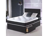 "❤ Free, Fast & Cash On Delivery ❤ New 4ft6 or 4ft Double Divan Bed w 10"" White Orthopaedic Mattress"