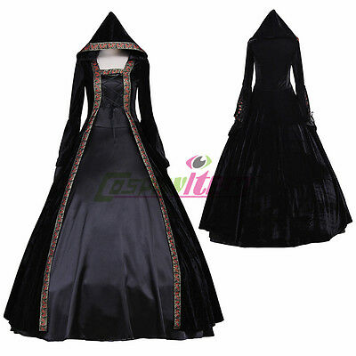 Black Medieval Renaissance Victorian Lolita Ball Gown Dress Halloween Costume](Black Ball Gown Halloween Costumes)