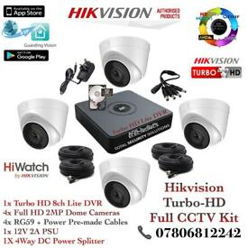 Hikvision HiWatch CCTV Kit, 8CH Hikvision Turbo-HD Cube DVR 500GB, 4x Hikvison 1080P Dome Cameras