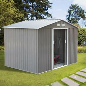 9'x6.3' Garden Storage Shed w/ Floor Foundation Outdoor Patio Yard Metal Tool Storage House Patio Backyard shed