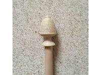 Laura Ashley Limed Wood 35mm Curtain Pole With Rope Finials 1.9m plus Brackets