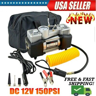 US Dual Cylinder Air Compressor Pump Auto Tire Inflator For Car Truck RV Bicycle