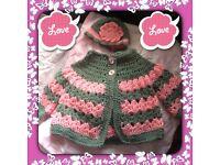 Newborn hand knitted jacket & hat