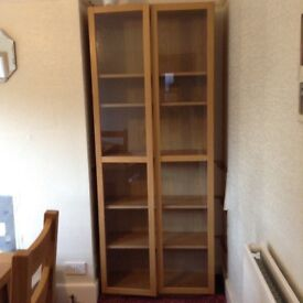 IKEA billy bookcase/display cabinet lightoak with glass doors and glass shelving and wooden shelving
