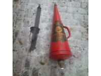 Vintage Red Cone Minimax Fire Extinguisher with stand and key