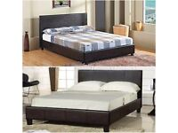 Jet Black/Choc Brown King Size Leather Bed with 100% Original Orthopedic Mattress- DELIVERY FREE
