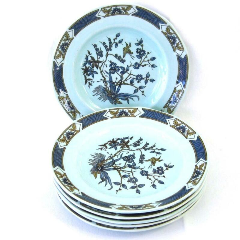 Adams Calyx Ware Ming Toi Blue Salad Plates Lot of 6 English Ironstone