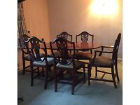 Mahogany Drop Leaf Table and Six Chairs