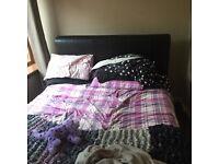 King size dark brown sleigh bed