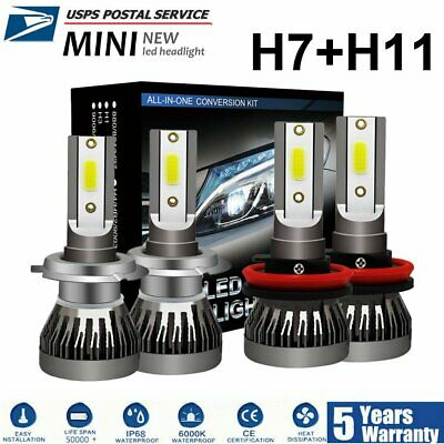 4x Combo H7 H11 3000W 450000LM LED Headlight Bulbs Kit High Low Beam White 6000K