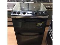 Zanussi Black 60cm gas cooker (fan oven)