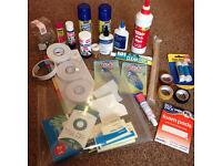 Stationary BUNDLE: glue, photo mount, sticky tapes, note pads, folder, fabric glue, glitter, pin etc