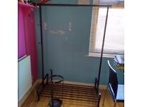 Ikea metal hanging rail with shoe rack and umbrella stand