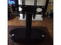 Two Tier Glass and Metal TV Stand