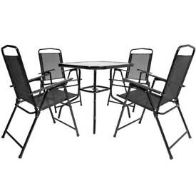 charles bentley 5 pcs textilene dining garden furniture set - Garden Furniture Nottingham
