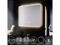 +SALE+ 600x500mm LED Clock Demister Bathroom Mirror