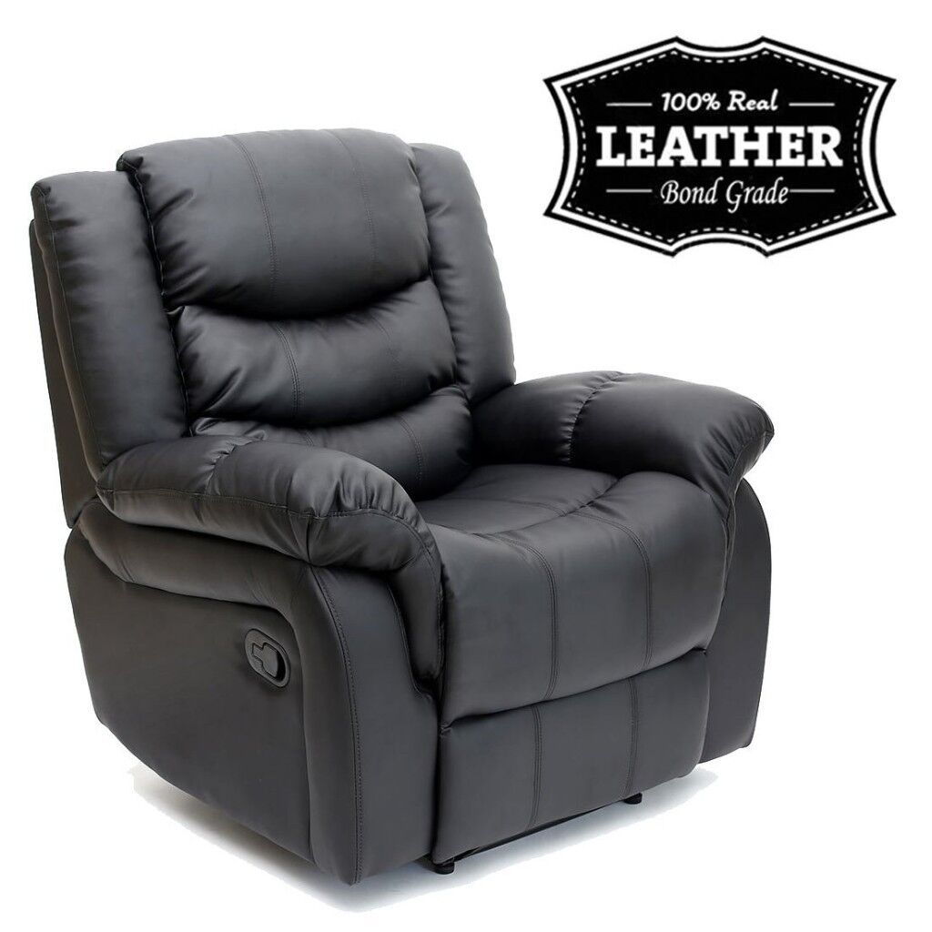 SEATTLE 100% REAL LEATHER RECLINER ARMCHAIR SOFA HOME LOUNGE CHAIR  RECLINING GAMING (Black) | in Wallsend, Tyne and Wear | Gumtree