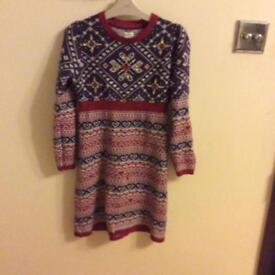 Monsoon girls knitted dress age 9-10 years