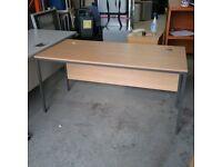 Large beech effect office desk