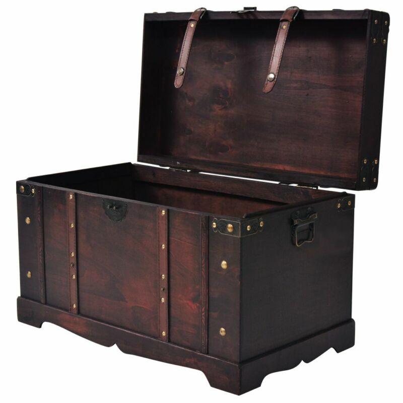 Vintage Wooden Treasure Chest Storage Trunk Organizer Box Coffee Table Retro Kit