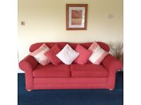 Red 3 seater sofa plus optional matching 2 seater sofa