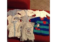 Boys 0-3mth sleepsuits