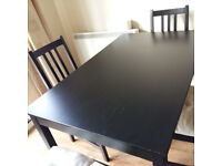 Dining table + 4 chairs for sale (Black clolour)