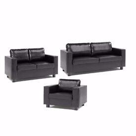 *7-DAYS MONEY BACK GUARANTEE* PU LEATHER BOX 3, 2 AND 1 SEATER SOFA SUITE IN BLACK/BROWN COLOR