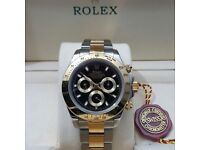 New boxed with papers Two tone bracelet black dial Rolex Daytona watch Automatic sweeping movement