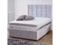 🚚🚛75% Off🚚 High Street Prices‎ | BRAND NEW-Double / Small Double Divan crush velvet With Mattress