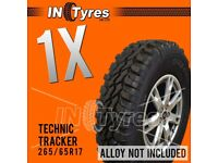 1x 265/65r17 Technic Tracker Mud Terrain MT 265 65 17 Retread Kingpin M/T Tyres