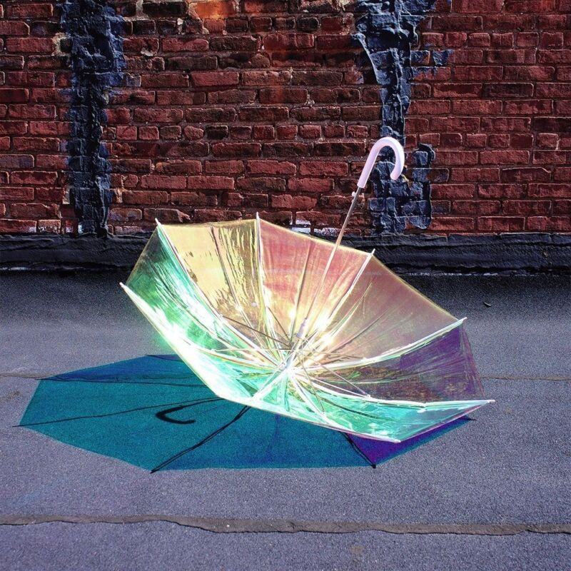 "iridescent HOLOGRAPHIC UMBRELLA 46"" HOLO see-thru color-changing WHITE HANDLE"