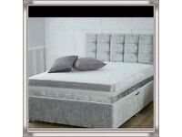 Brand New 4FT6 Double Crushed Velvet Bed Set ( Base + Mattress + Headboard) Fast Delivery....