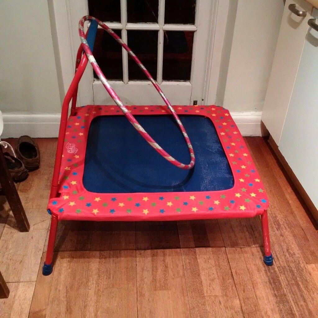 small kids folding trampoline and hula-hoop
