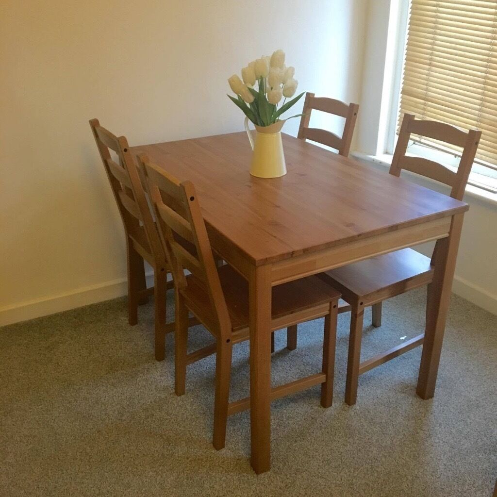 ikea jokkmokk table and 4 chairs antique stain in