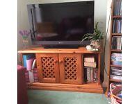 Corner Pine TV Cabinet and Matching Mirror