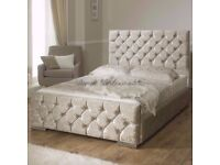 SAME DAY FREE DELIVERY**==NEW DOUBLE CRUSHED VELVET CHESTERFIELD BED WITH WIDE RANGE OF MATTRESS