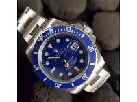 New silver blue dial blue ceramic bezel silver oyster bracelet Rolex Submariner just Mens watch