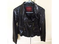 Girls Navy Sequin Biker Jacket - Baker by Ted Baker - Age 12yrs Height 152cm