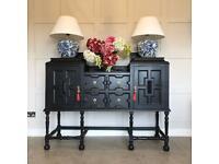 Stunning Antique Oak Sideboard Cabinet Black Brass L153cm D53cm H127cm Can Deliver