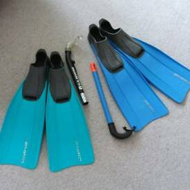 Flippers and snorkels 1 pair 6/7 1 pair 8/9 excellent condition